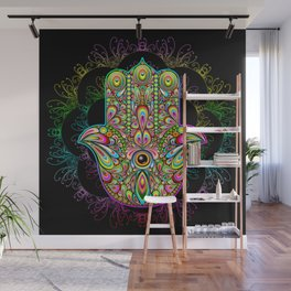 Hamsa Hand Amulet Psychedelic Wall Mural