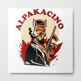 Cool Alpakacino Alpaka Hoodie Design Metal Print