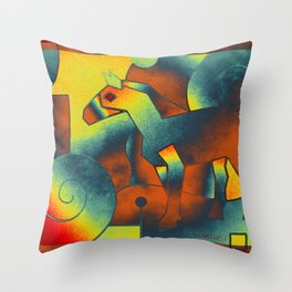 Abstract ART - Simply A Horse - blue red yellow Throw Pillow