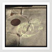 NOLA Water Meter Mickey,  sidewalk art. Art Print