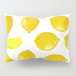 Lemon Pattern Home Decor Wall Hanging Art Print Modern Graphic Design Yellow White Interior Pillow Sham