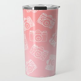Girly modern hand drawn cameras pattern on pink blush ombre Travel Mug