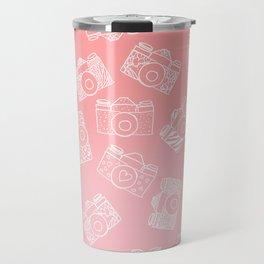 Girly modern hand drawn cameras pattern on pink blush ombre Travel Mug