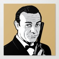 james bond Canvas Prints featuring James Bond by artpuerto