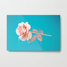 Pastel rose drip Metal Print