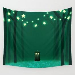Tardis Art Green Shine Wall Tapestry