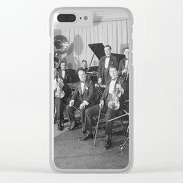 Vintage black and white photo of orchestra Clear iPhone Case