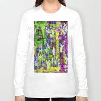 boyfriend Long Sleeve T-shirts featuring BOYFRIEND SWEATS(violet & lime) by Glint & Lime Art