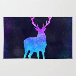 DEER IN SPACE // Animal Graphic Art // Watercolor Canvas Painting // Modern Minimal Cute Rug