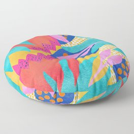 Bold Flower Pattern Yellow Background Floor Pillow