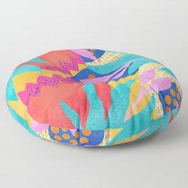 Bold Flowers on Yellow Floor Pillow