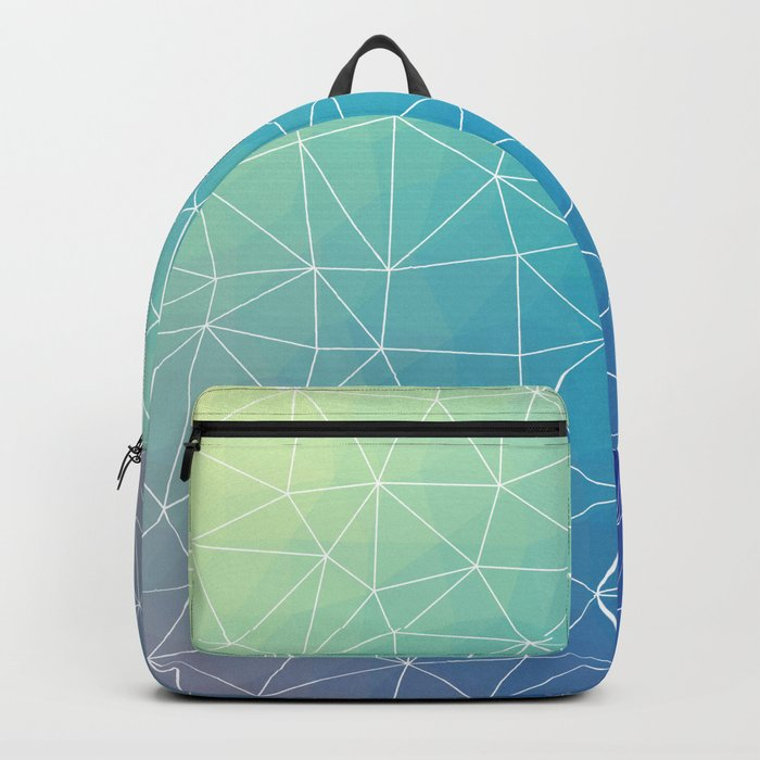 Abstract Blue Geometric Triangulated Design Backpack