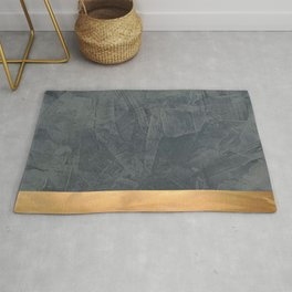 Slate Gray Stucco w Shiny Copper Metallic Trim - Faux Finishes - Rustic Glam - Corbin Henry Rug