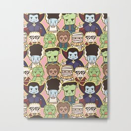 Kawaii Little Monsters Series 1 Pattern Print Metal Print