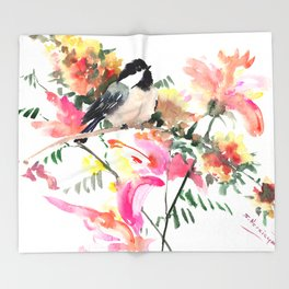 Chickadee bird art design, Birds and Flowers Throw Blanket