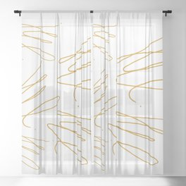 Golden scratches on transparant background Sheer Curtain
