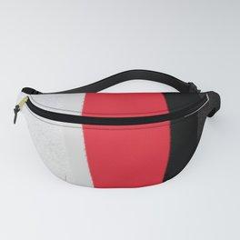 silver grey red black striped geometric minimal digital painting Fanny Pack