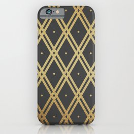 Luxury Gold Argyle _ Dark Gray iPhone Case