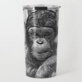 AnimalArtBW_Chimpanzee_20180201_by_JAMColors Travel Mug