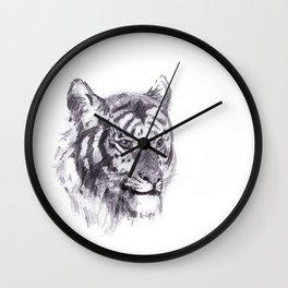 Tiger pencil rough sketch Wall Clock