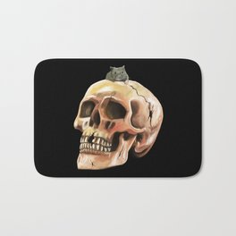 Cracked skull with mouse Bath Mat