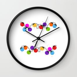 Colorful Christmas light bulb round shape new year greeting card vector Wall Clock