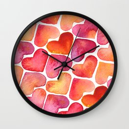 Watercolor Pink and Orange Heart Pattern Wall Clock