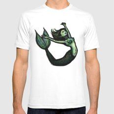 Mermaid MEDIUM White Mens Fitted Tee