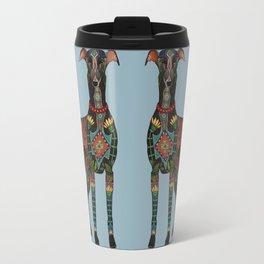 greyhound azure blue Travel Mug