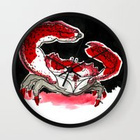 crab Wall Clocks featuring Crab by Lieke Mulder