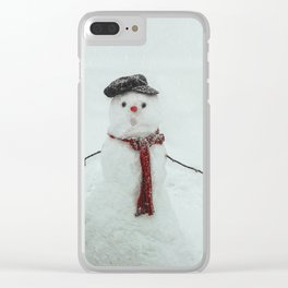 Melting snowman Clear iPhone Case