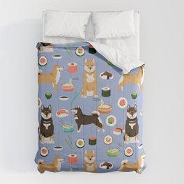 Shiba Inu noodles pho food cute dog art sushi dogs pet portrait pattern Comforters