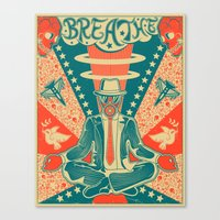 breathe Canvas Prints featuring BREATHE by Jazzberry Blue