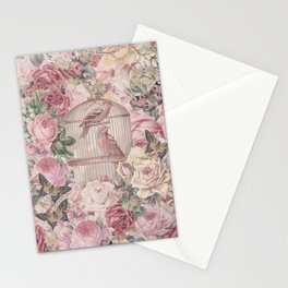 Romantic Flower Pattern And Birdcage Stationery Cards