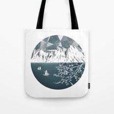 Mountain print , Navy Blue poster , mid century Modern art , travel poster Tote Bag