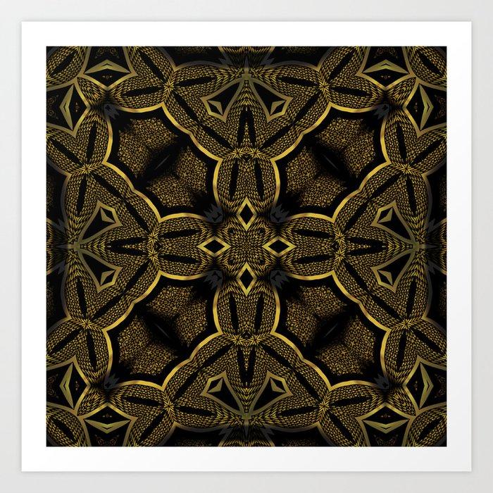 Gold Knight Medieval Geometric Pattern Art Print