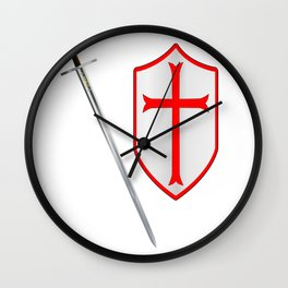 Crusaders Sword and Shield Wall Clock