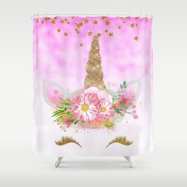 Pink Unicorn and Gold Stars Shower Curtain