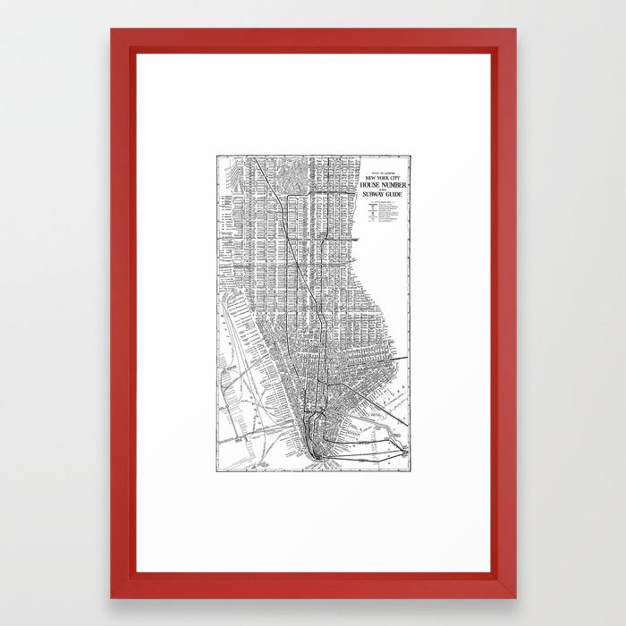 New York Subway Map Red.New York City Subway Map New York City Art Manhattan New York Framed Art Print