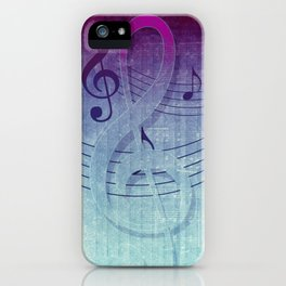 Aqua Purple Ombre Music Notes iPhone Case