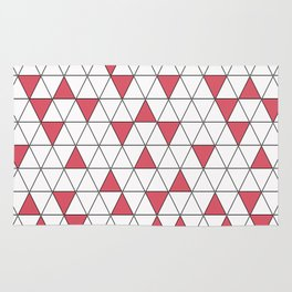 Red, white geometric pattern. Rug