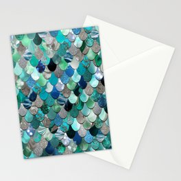 Mermaid Sea, Teal, Aqua, Silver, Grey Stationery Cards