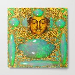 PRECIOUS GREEN FIRE OPALS & GOLD BUDDHA Metal Print