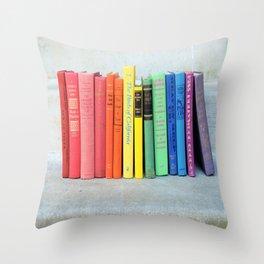 Rainbow Vintage Books Throw Pillow