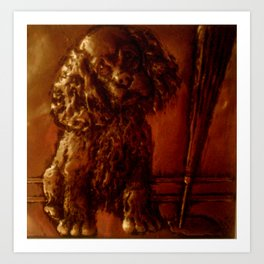 Dog with baseball bat Art Print