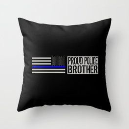 Police: Proud Brother (Thin Blue Line) Throw Pillow