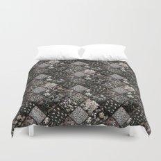 Faux Patchwork Quilting - Black Duvet Cover