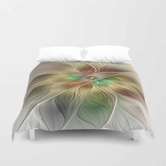 Golden Flower, Abstract Fractal Art Duvet Cover