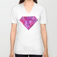 geode V-neck T-shirts featuring Rhodolite by Cat Coquillette
