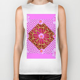 Fuchsia Pink Wild Rose Pattern Abstract Biker Tank